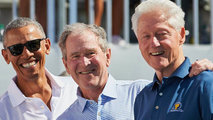 Barack Obama, George W. Bush y Bill Clinton. Cortesía CNN