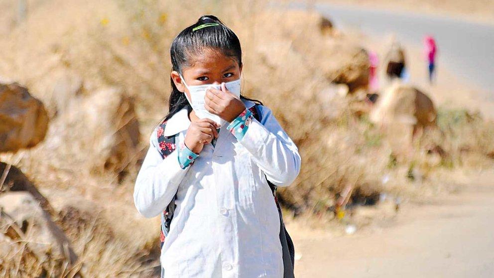 Una niña asiste a clases semipresenciales en la zona de Villa Flores de Cochabamba,  Bolivia.  NOÉ PORTUGAL