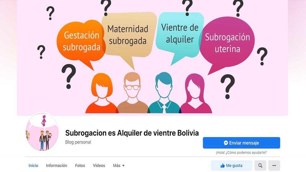 Captura del blog habilitado en Facebook para el alquiler de vientre en Bolivia. CAPTURA