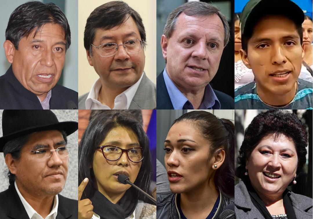 Los ocho miembros del MAS que son posibles candidatos al binomio presidencial.