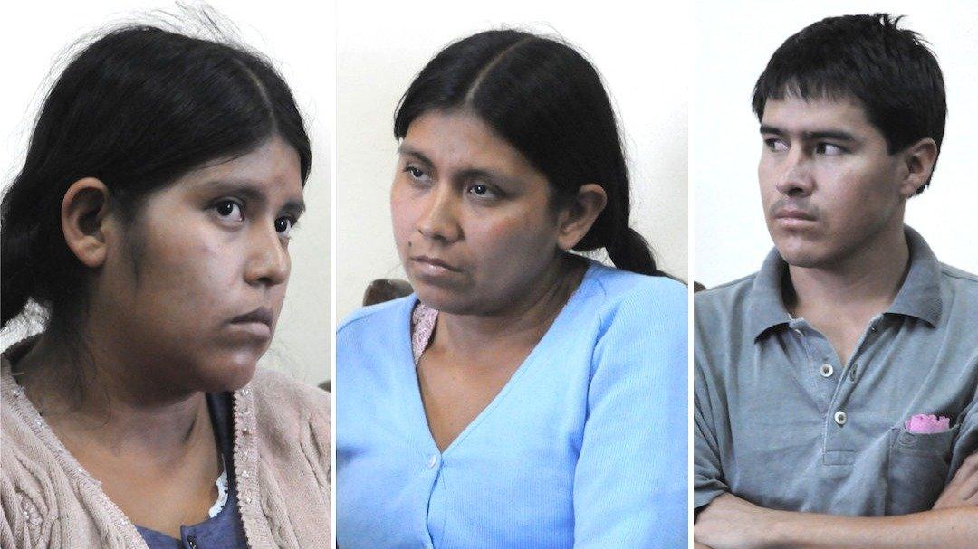 Elba Terán (i) junto a su hermana Juana y su cuñado Tomás Veizaga.  ARCHIVO