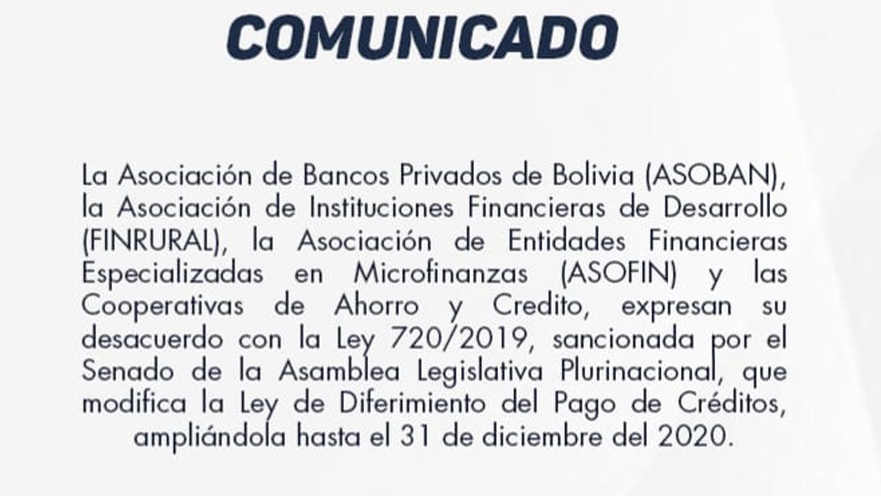 Comunicado emitido por las entidades bancarias. CRE?DITO- Finrural