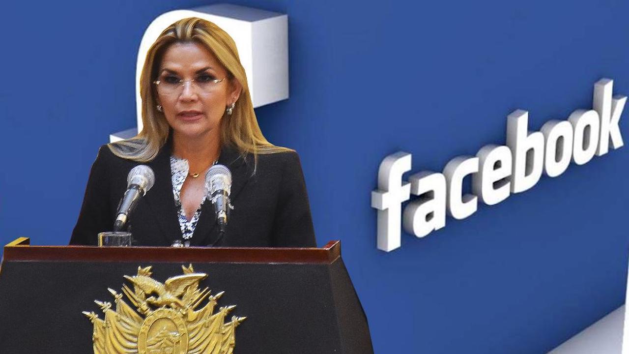 Una imagen de Facebook y la presidenta Jeanine Áñez. ARCHIVO