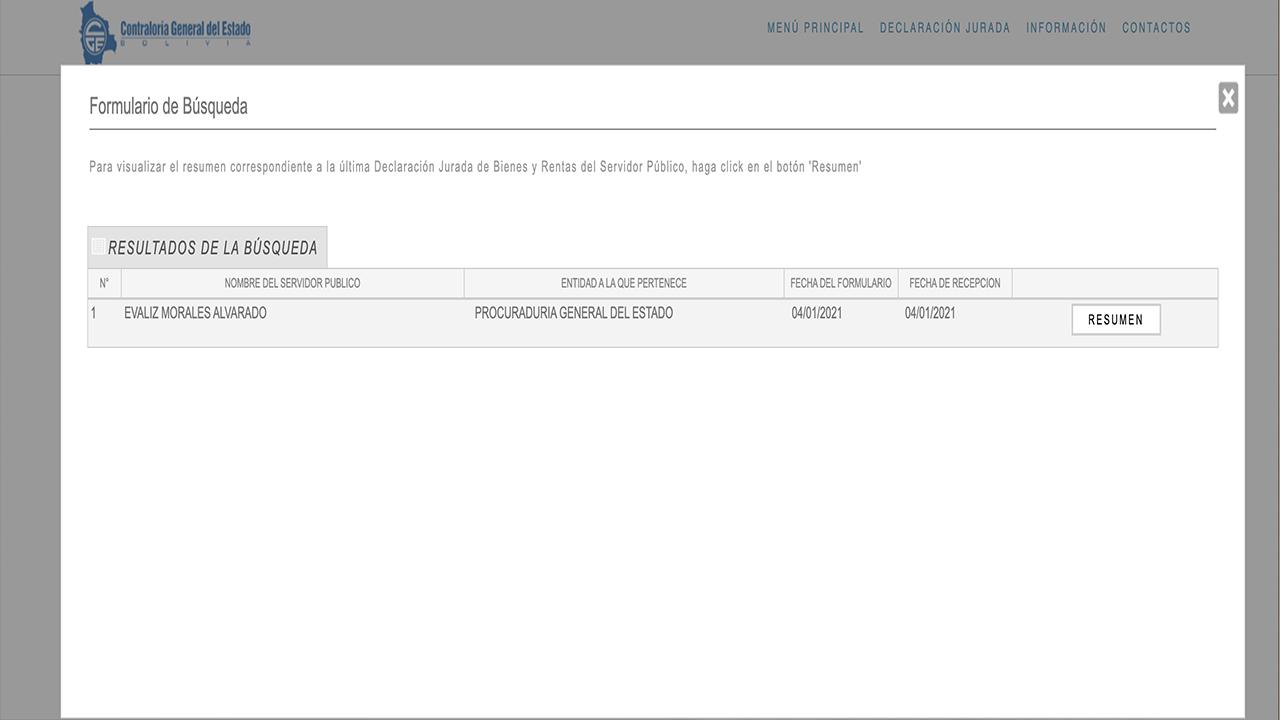 Captura del registro de la Contraloría General del Estado donde se evidencia el nombre de Evaliz